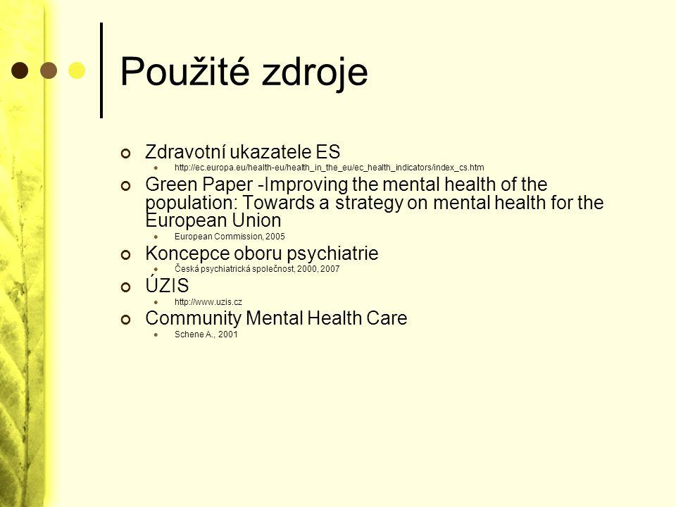 Použité zdroje Zdravotní ukazatele ES