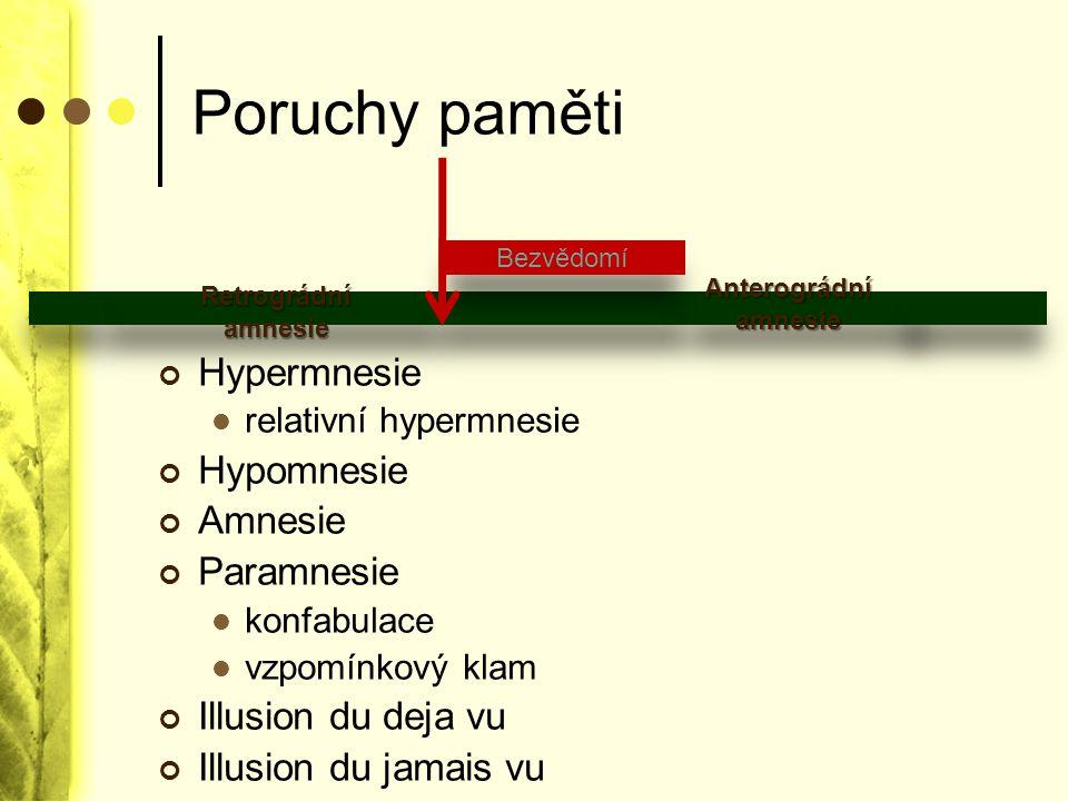 Poruchy paměti Hypermnesie Hypomnesie Amnesie Paramnesie