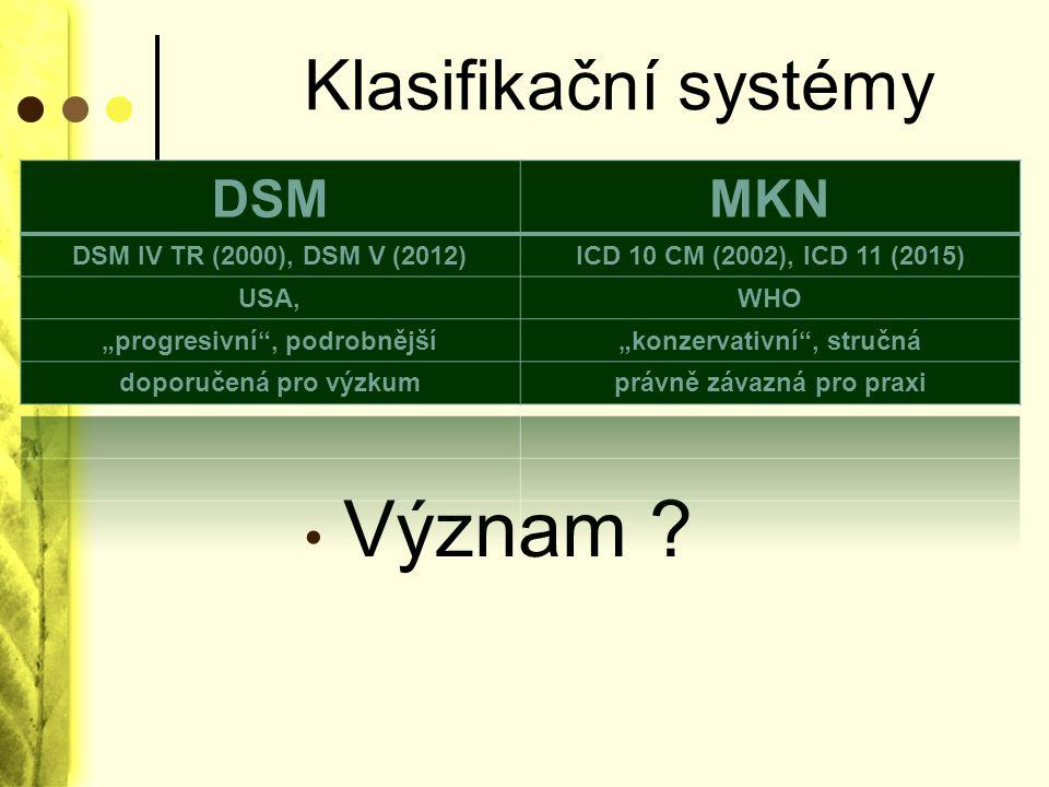 Význam Klasifikační systémy DSM MKN DSM IV TR (2000), DSM V (2012)