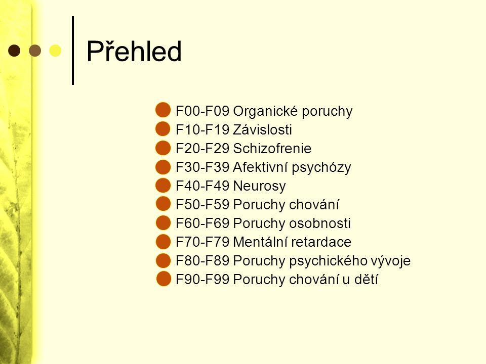 Přehled F00-F09 Organické poruchy F10-F19 Závislosti