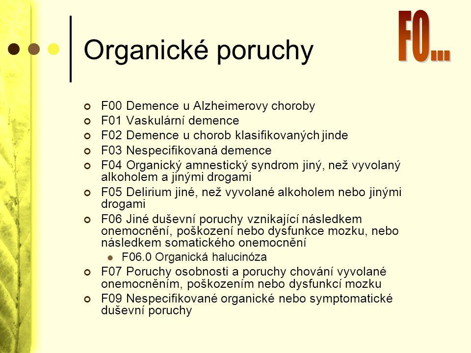 Organické poruchy F0... F00 Demence u Alzheimerovy choroby