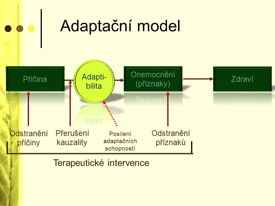 Adaptační model Terapeutické intervence Adapti- bilita Příčina