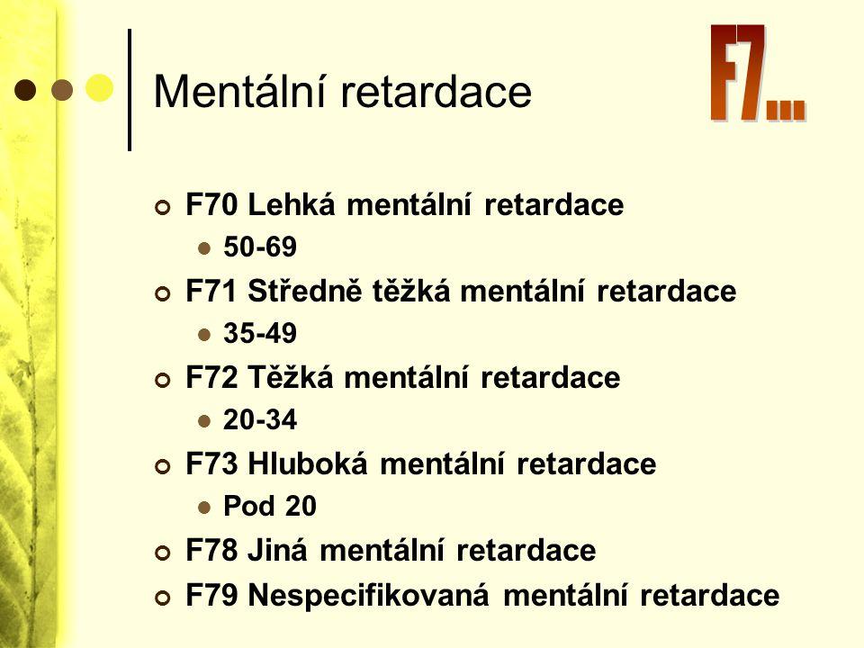 Mentální retardace F7... F70 Lehká mentální retardace