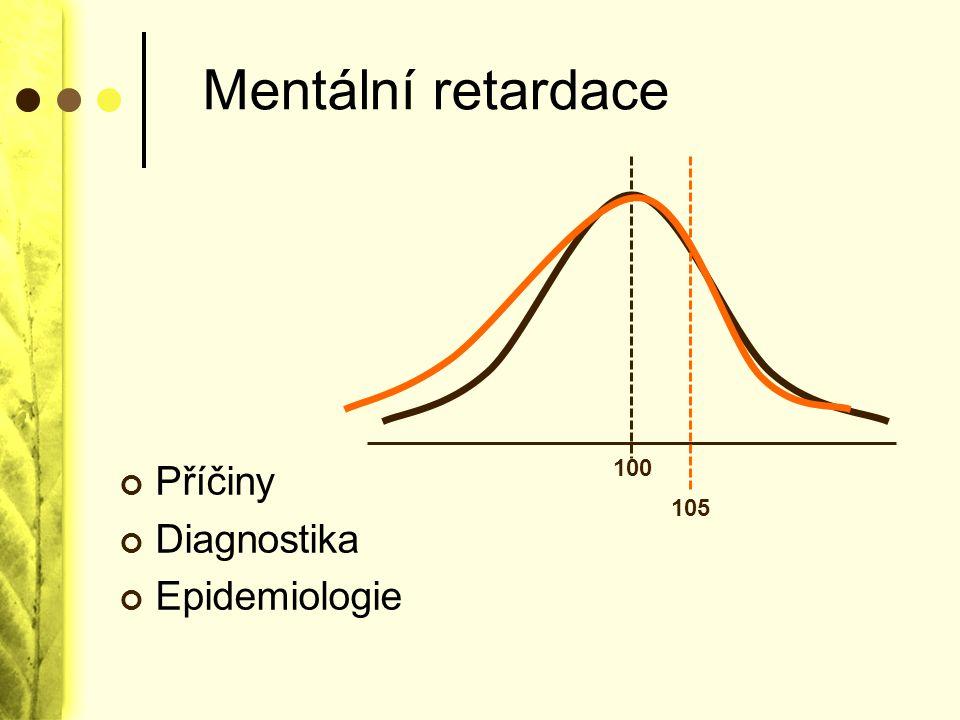 Mentální retardace 100 105 Příčiny Diagnostika Epidemiologie