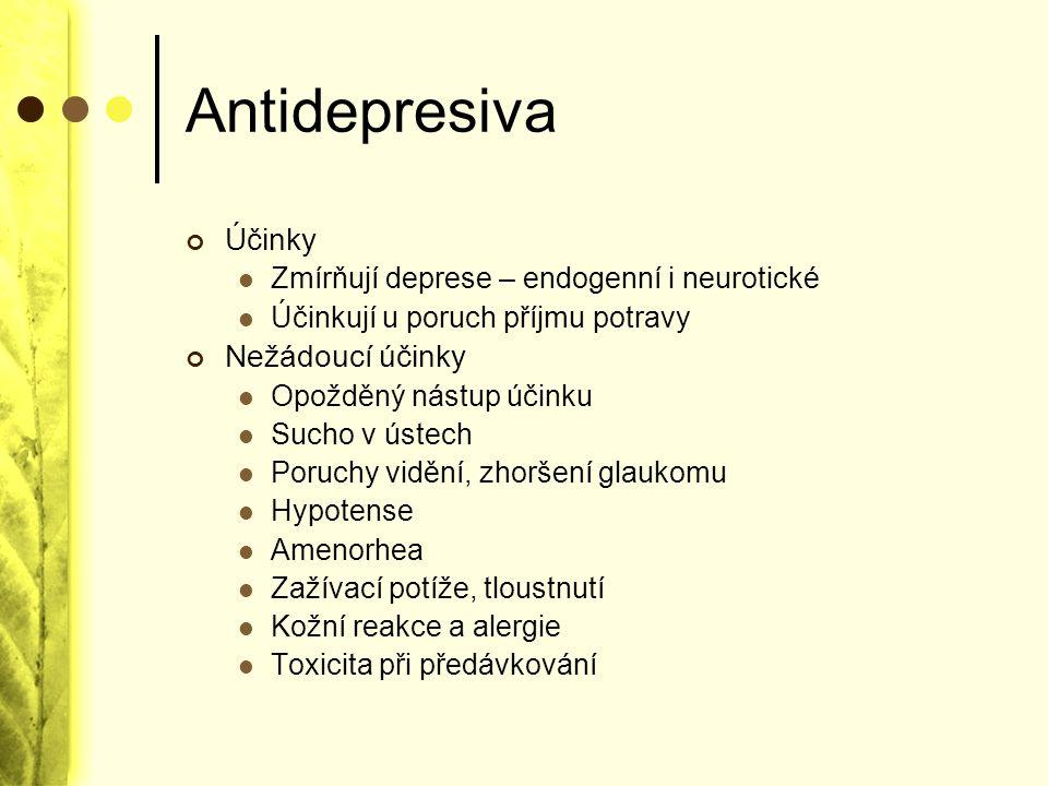Antidepresiva Účinky Nežádoucí účinky