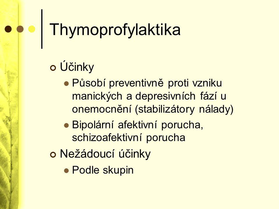 Thymoprofylaktika Účinky Nežádoucí účinky