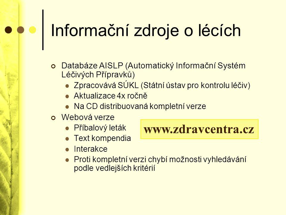 Informační zdroje o lécích