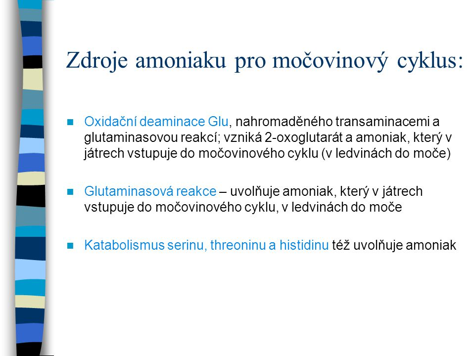 Zdroje amoniaku pro močovinový cyklus: