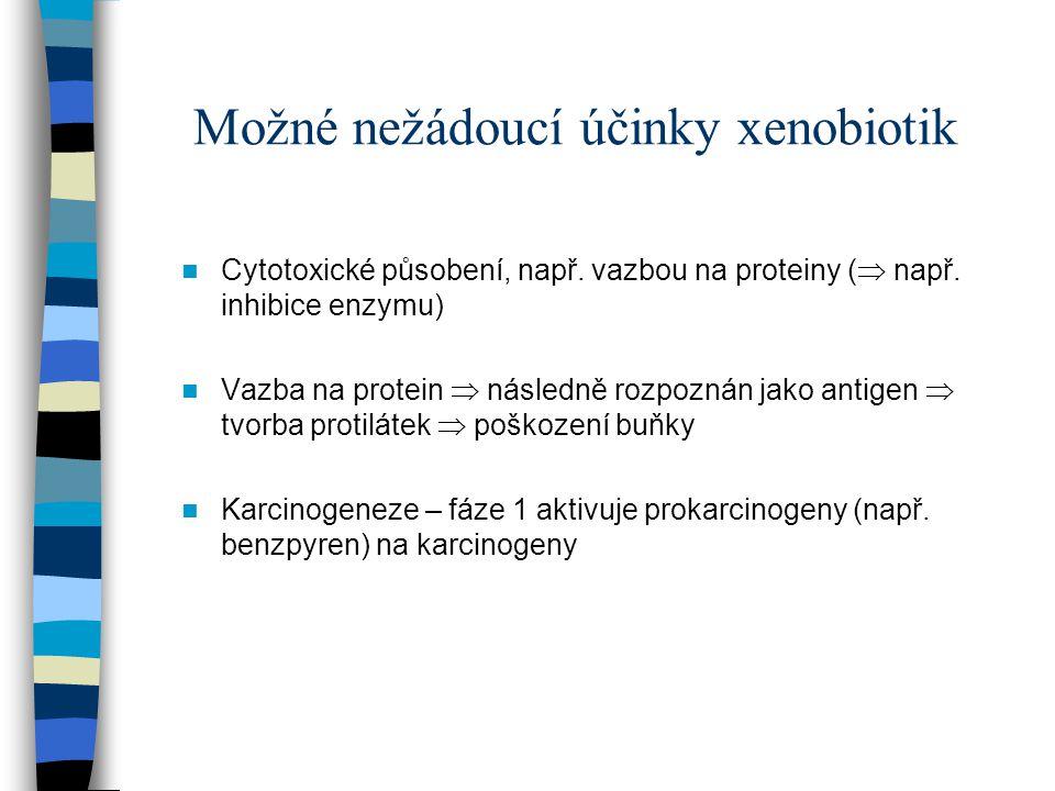 Možné nežádoucí účinky xenobiotik