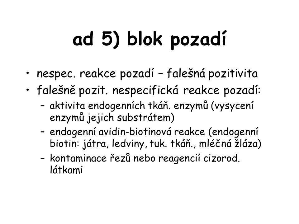 ad 5) blok pozadí nespec. reakce pozadí – falešná pozitivita