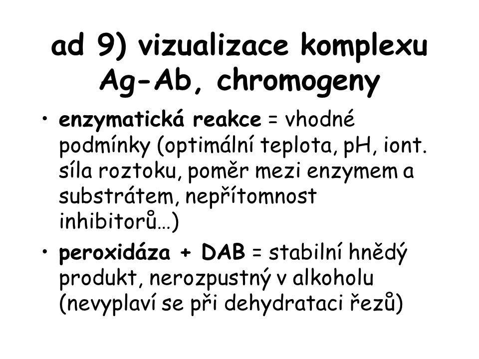 ad 9) vizualizace komplexu Ag-Ab, chromogeny