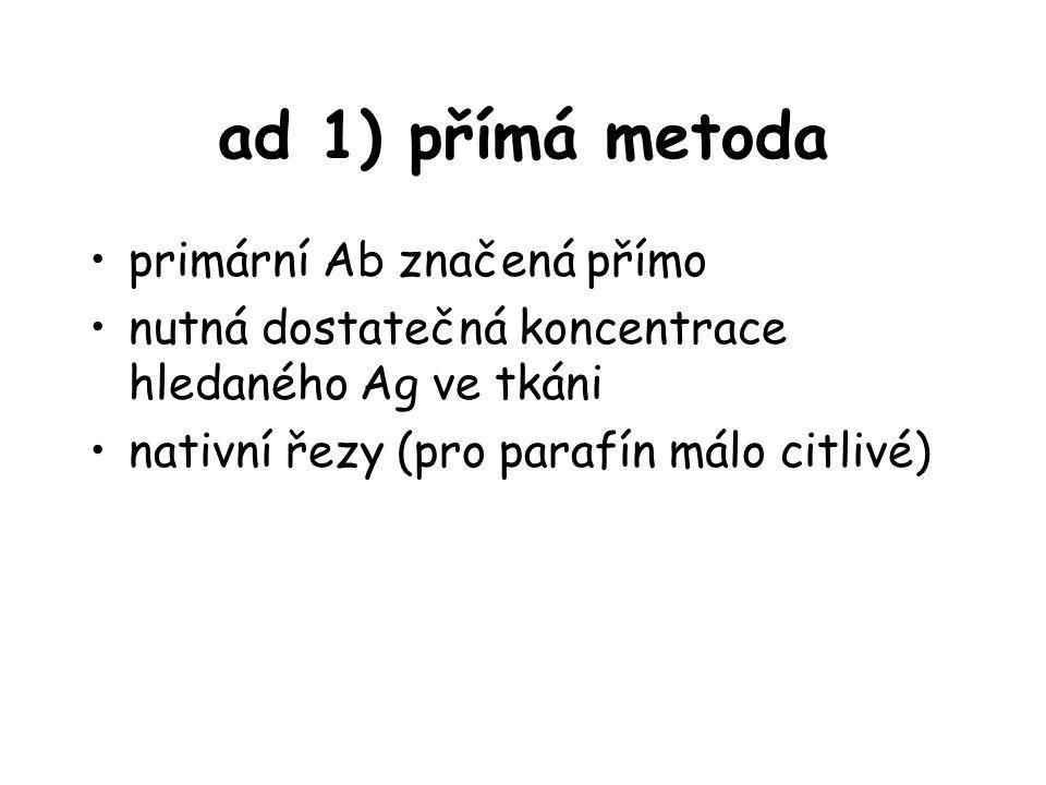 ad 1) přímá metoda primární Ab značená přímo