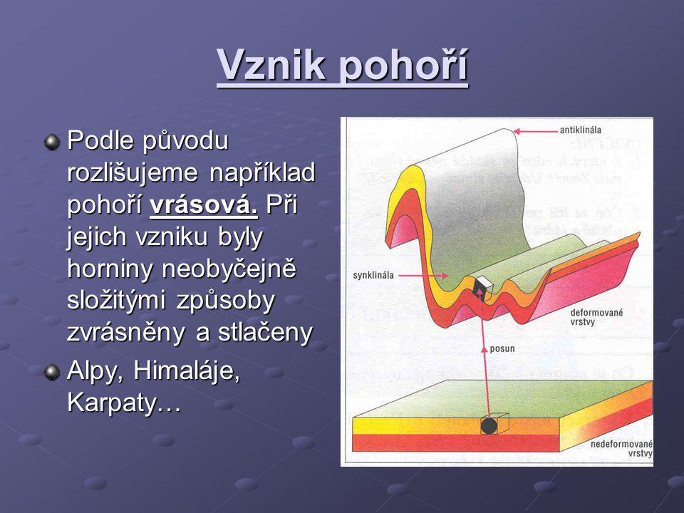 Vznik pohoří Podle původu rozlišujeme například pohoří vrásová. Při jejich vzniku byly horniny neobyčejně složitými způsoby zvrásněny a stlačeny.