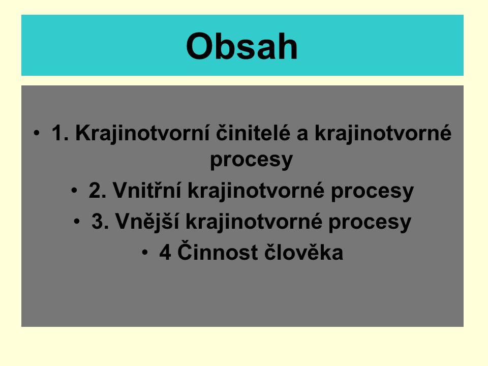 Obsah 1. Krajinotvorní činitelé a krajinotvorné procesy