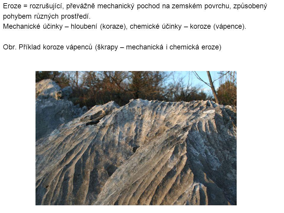 Eroze = rozrušující, převážně mechanický pochod na zemském povrchu, způsobený