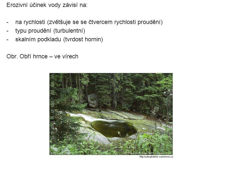 Erozivní účinek vody závisí na: