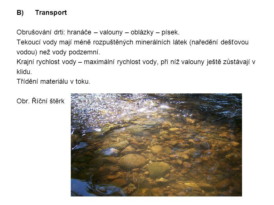 B) Transport Obrušování drti: hranáče – valouny – oblázky – písek. Tekoucí vody mají méně rozpuštěných minerálních látek (naředění dešťovou.