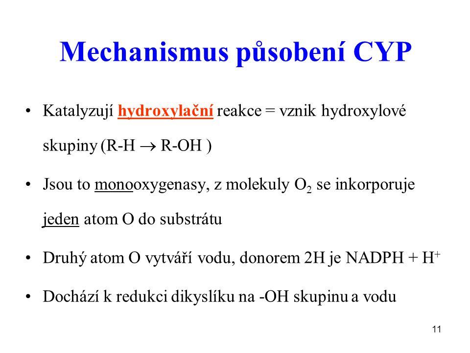 Mechanismus působení CYP