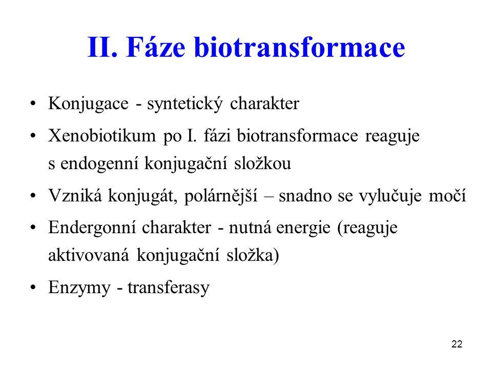 II. Fáze biotransformace