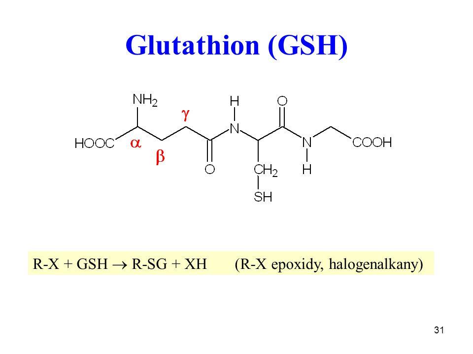 Glutathion (GSH) R-X + GSH  R-SG + XH (R-X epoxidy, halogenalkany)