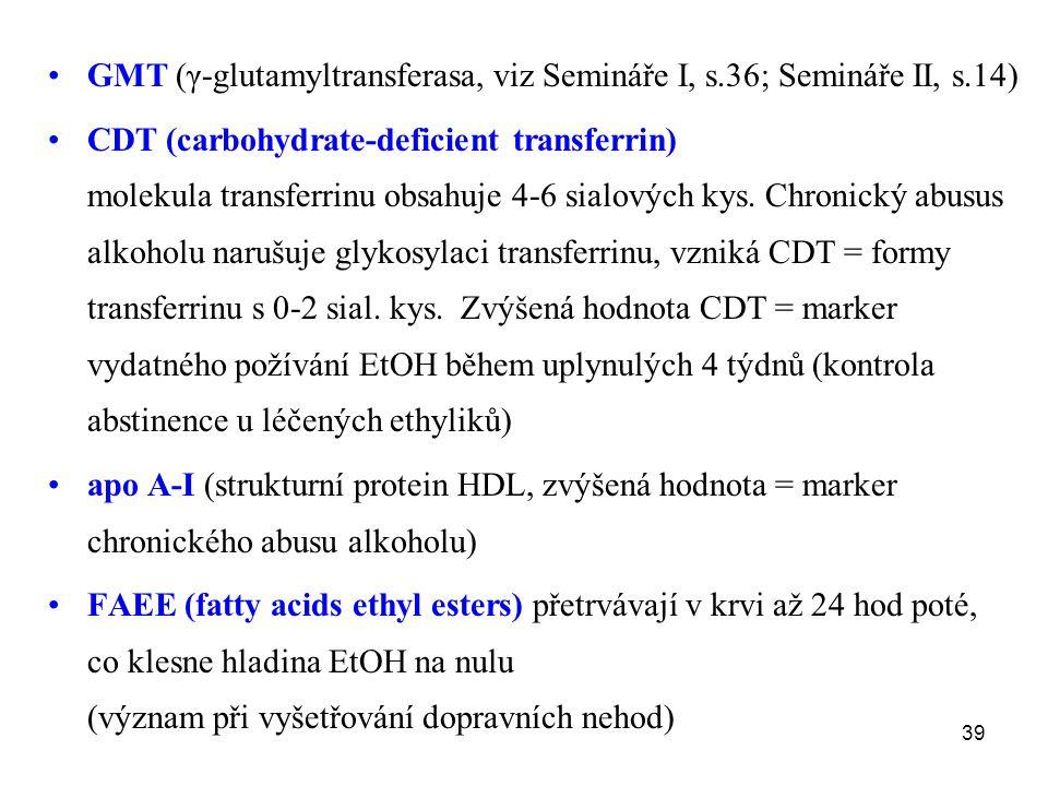 GMT (γ-glutamyltransferasa, viz Semináře I, s.36; Semináře II, s.14)