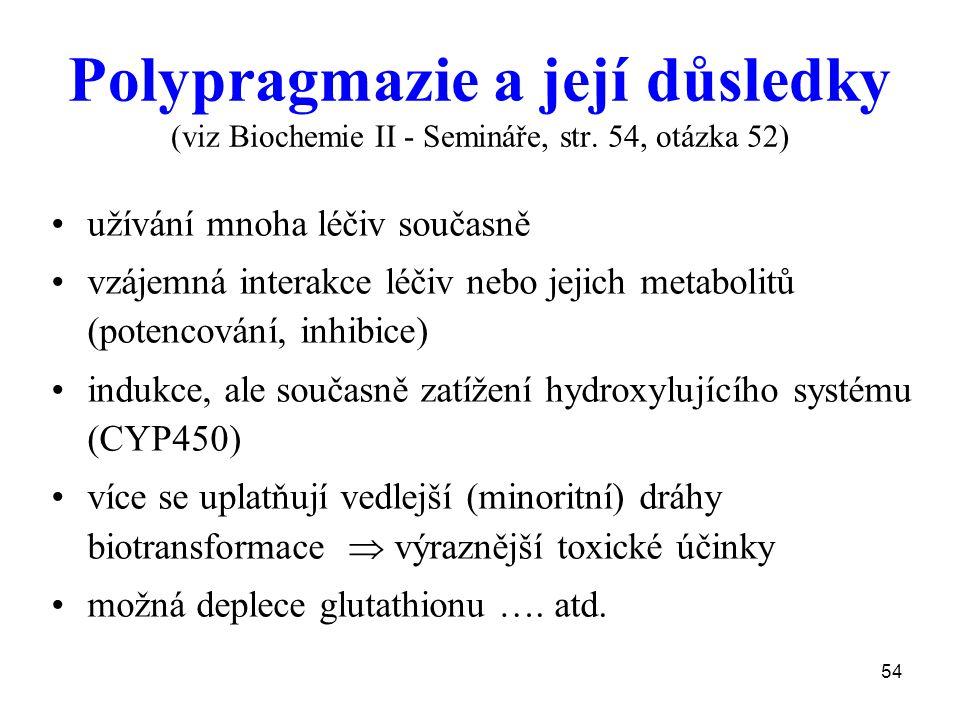 Polypragmazie a její důsledky (viz Biochemie II - Semináře, str