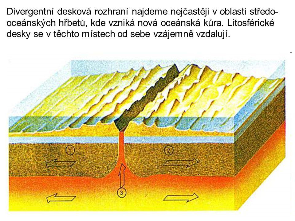 Divergentní desková rozhraní najdeme nejčastěji v oblasti středo- oceánských hřbetů, kde vzniká nová oceánská kůra.