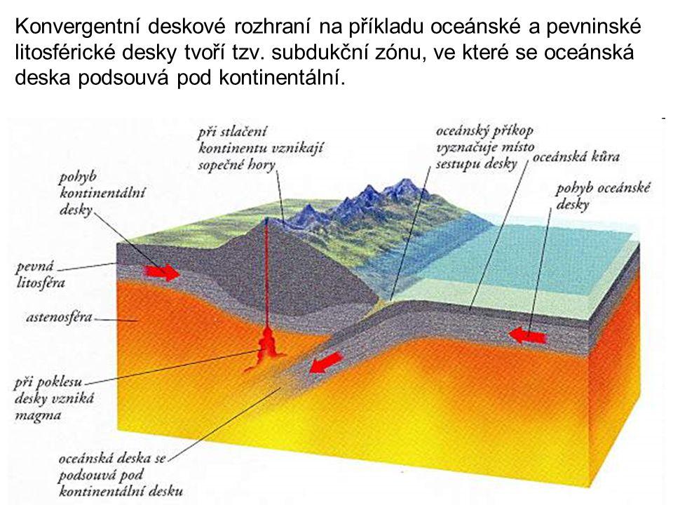 Konvergentní deskové rozhraní na příkladu oceánské a pevninské litosférické desky tvoří tzv.