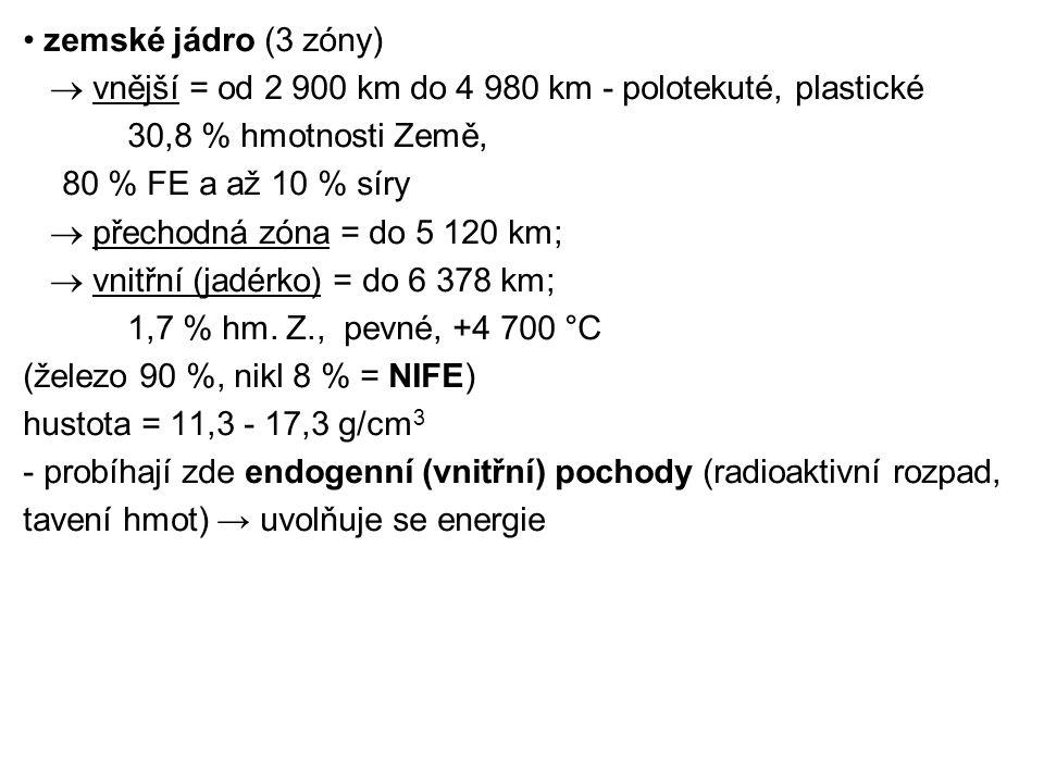 • zemské jádro (3 zóny)  vnější = od 2 900 km do 4 980 km - polotekuté, plastické. 30,8 % hmotnosti Země,