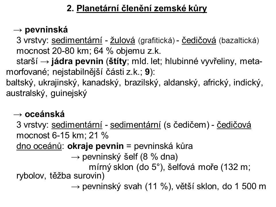 2. Planetární členění zemské kůry