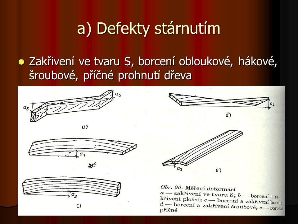 a) Defekty stárnutím Zakřivení ve tvaru S, borcení obloukové, hákové, šroubové, příčné prohnutí dřeva.