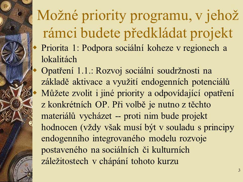 Možné priority programu, v jehož rámci budete předkládat projekt