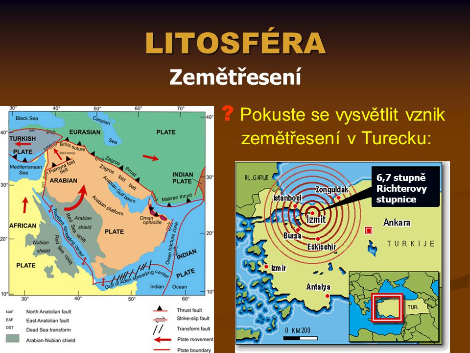 LITOSFÉRA Zemětřesení Pokuste se vysvětlit vznik