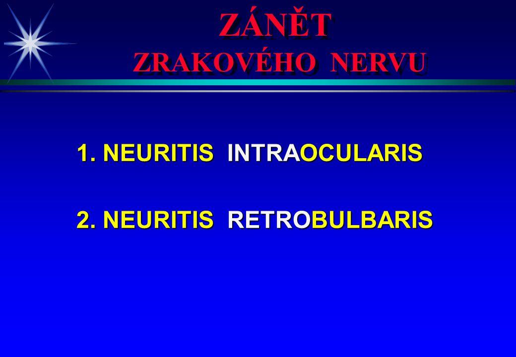 ZÁNĚT ZRAKOVÉHO NERVU 1. NEURITIS INTRAOCULARIS