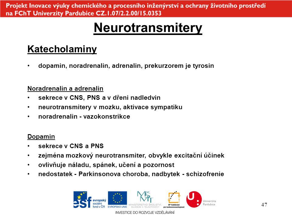 Neurotransmitery Katecholaminy