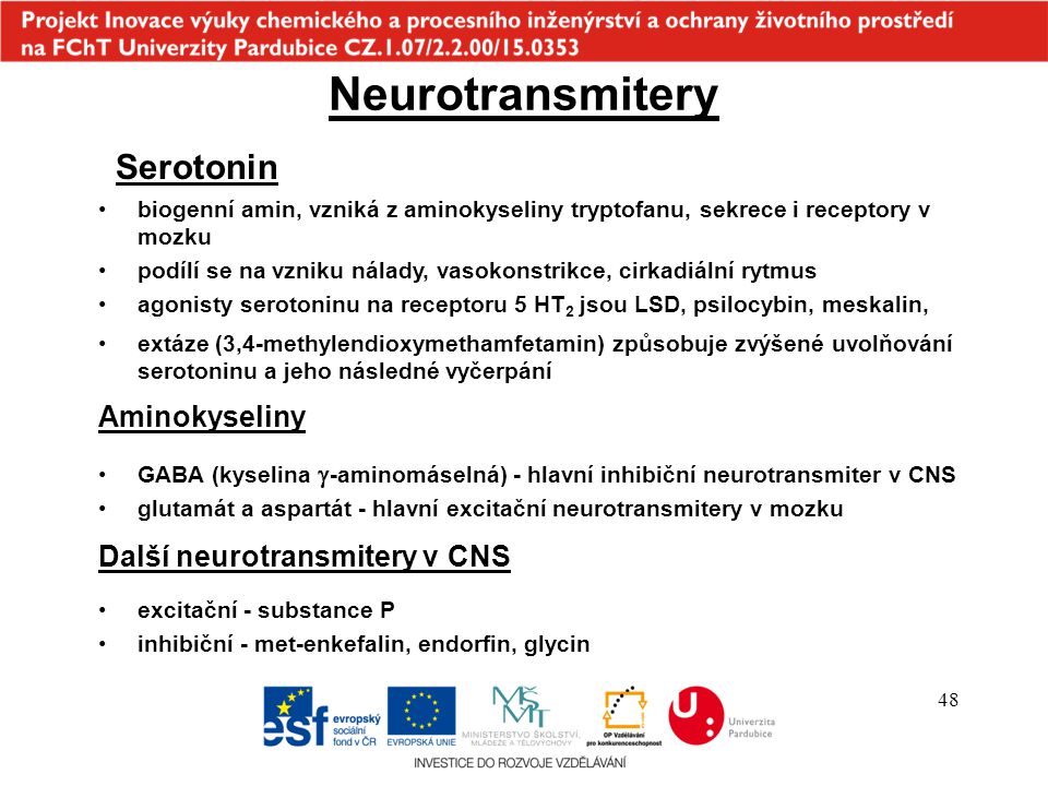 Neurotransmitery Serotonin Aminokyseliny Další neurotransmitery v CNS