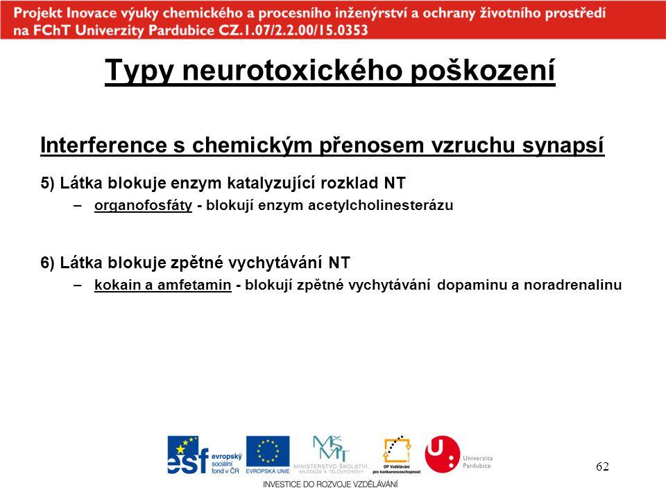Typy neurotoxického poškození