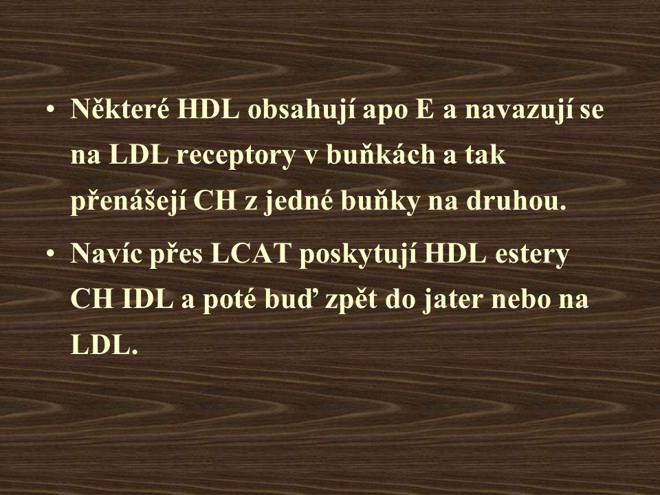 Některé HDL obsahují apo E a navazují se na LDL receptory v buňkách a tak přenášejí CH z jedné buňky na druhou.