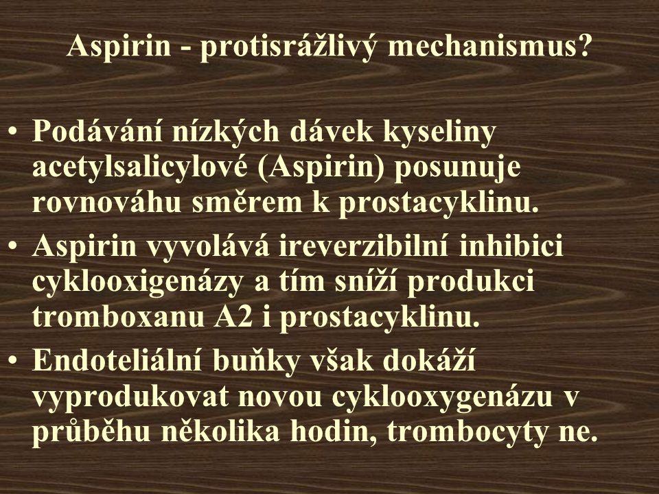 Aspirin - protisrážlivý mechanismus
