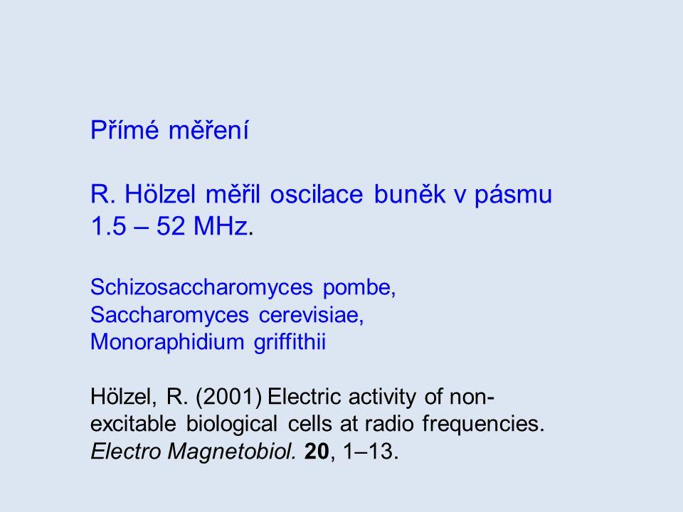 R. Hölzel měřil oscilace buněk v pásmu 1.5 – 52 MHz.