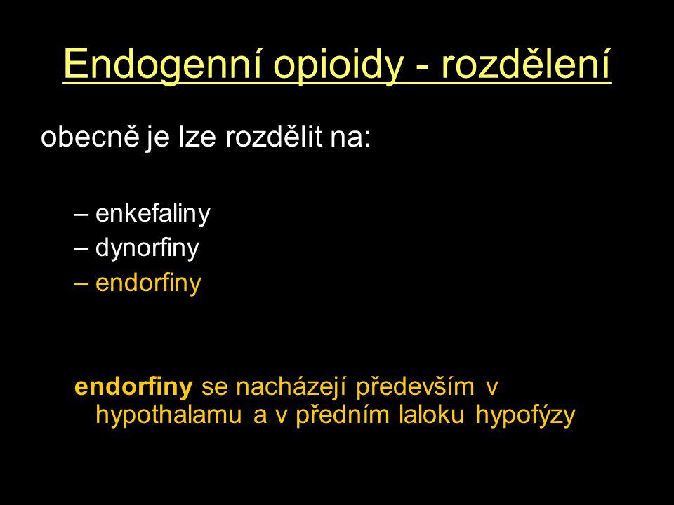 Endogenní opioidy - rozdělení