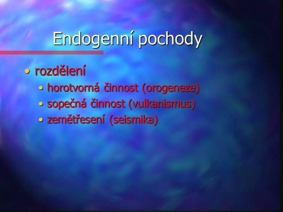 Endogenní pochody rozdělení horotvorná činnost (orogeneze)