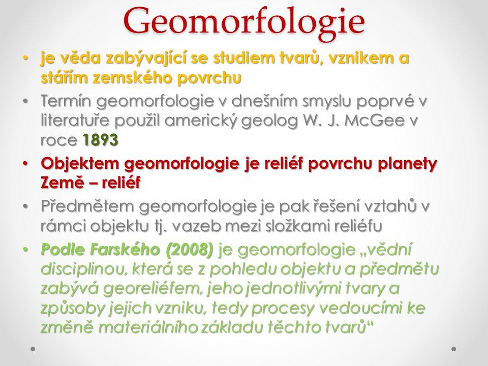 Geomorfologie je věda zabývající se studiem tvarů, vznikem a stářím zemského povrchu.