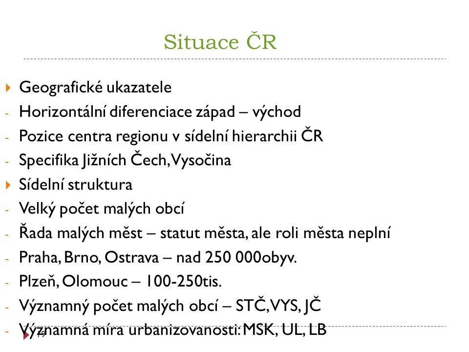 Situace ČR Geografické ukazatele
