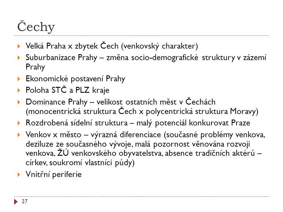 Čechy Velká Praha x zbytek Čech (venkovský charakter)