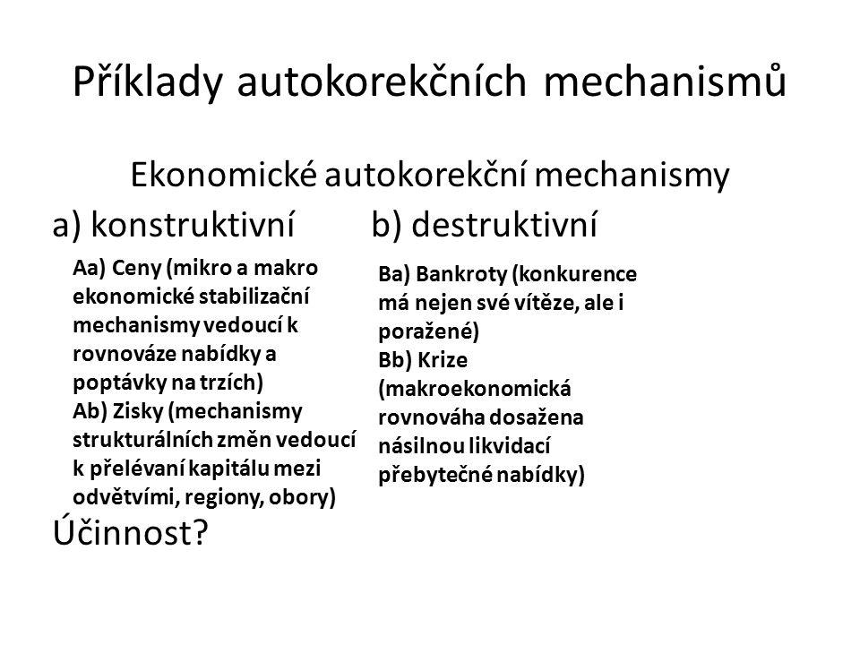 Příklady autokorekčních mechanismů