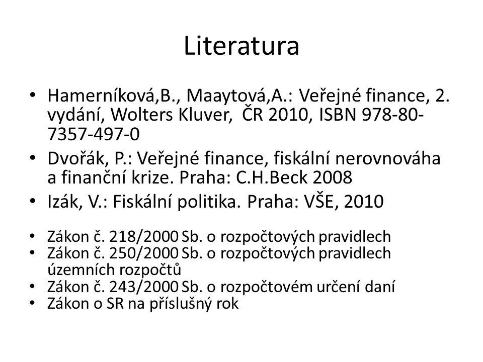 Literatura Hamerníková,B., Maaytová,A.: Veřejné finance, 2. vydání, Wolters Kluver, ČR 2010, ISBN 978-80-7357-497-0.