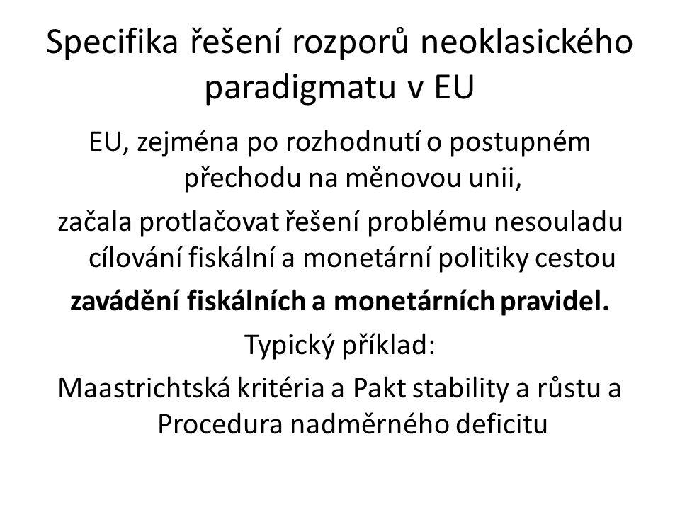 Specifika řešení rozporů neoklasického paradigmatu v EU