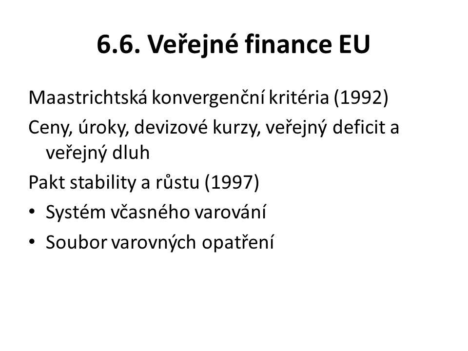 6.6. Veřejné finance EU Maastrichtská konvergenční kritéria (1992)