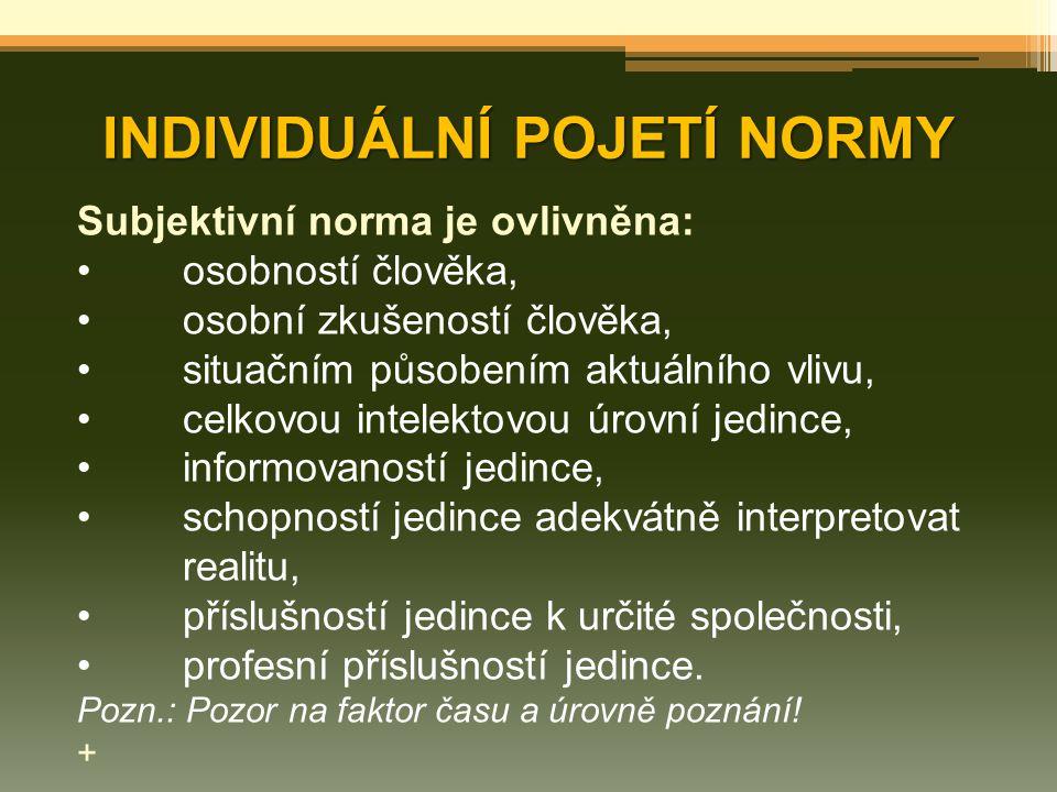 INDIVIDUÁLNÍ POJETÍ NORMY